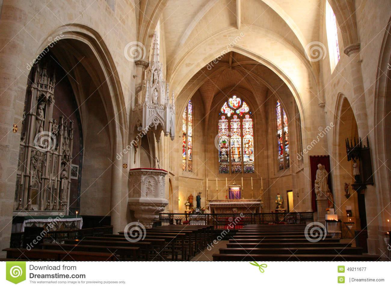 Stained-glass Windows Decorate The Choir Of Saint-Eloi Church In ...
