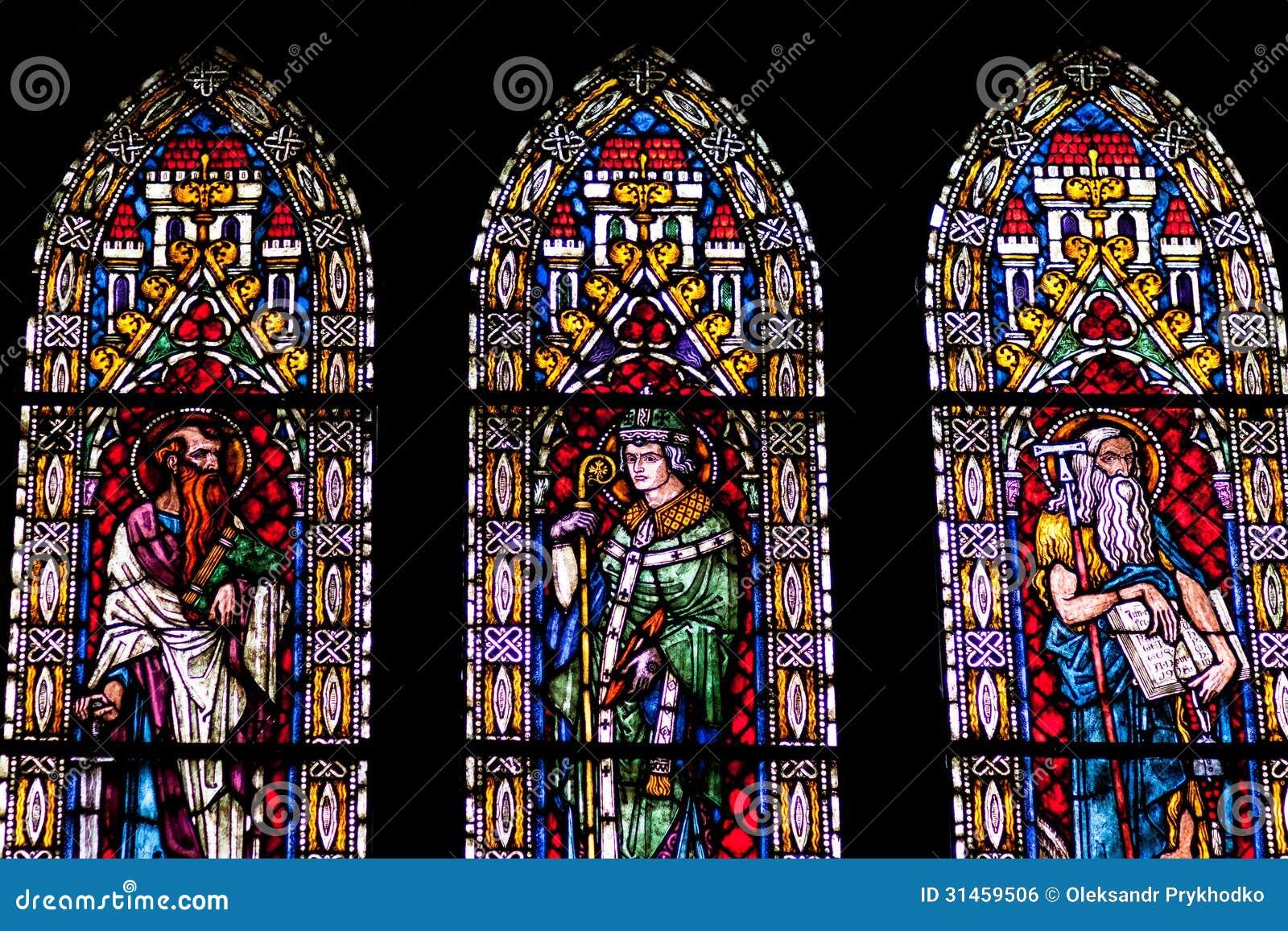 City Glass Windows : Stained glass windows of freiburg minster stock photo
