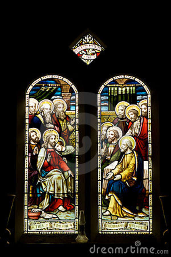 Stained Glass Windows Jesus Amp 11 Disciples Stock Image