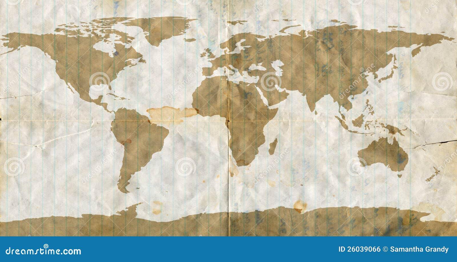 stained loose leaf paper world map stock illustration illustration