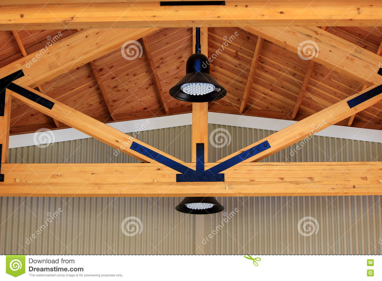 Stained Wood Building Truss Stock Photo - Image of wood