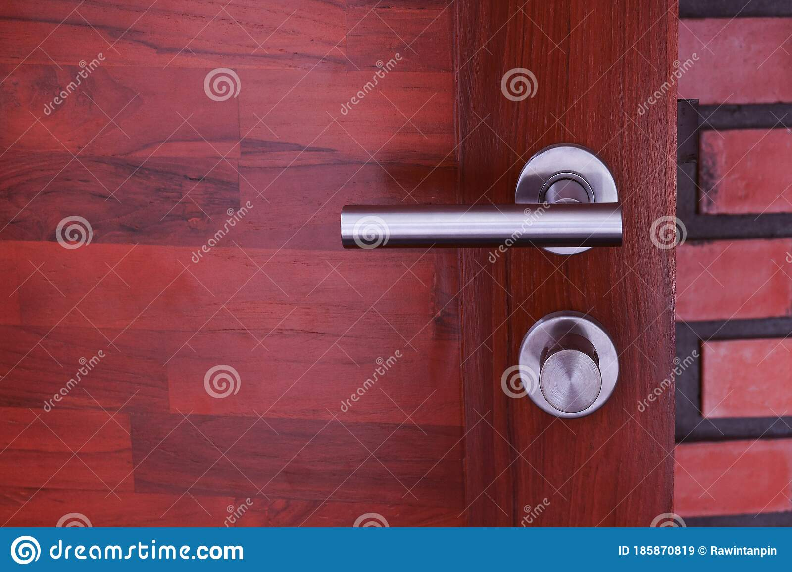 Stainless Or Aluminum Steel Modern Door Handle On Wooden Door Handle And Keyhole Detail Door Lock Interior Door Knob In Bedroom Stock Image Image Of Indoors Hand 185870819