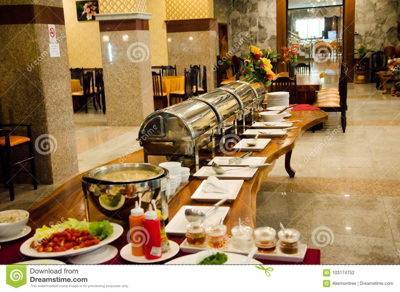 Morning Food Bar On Buffet Table Station Stock Photo Image Of