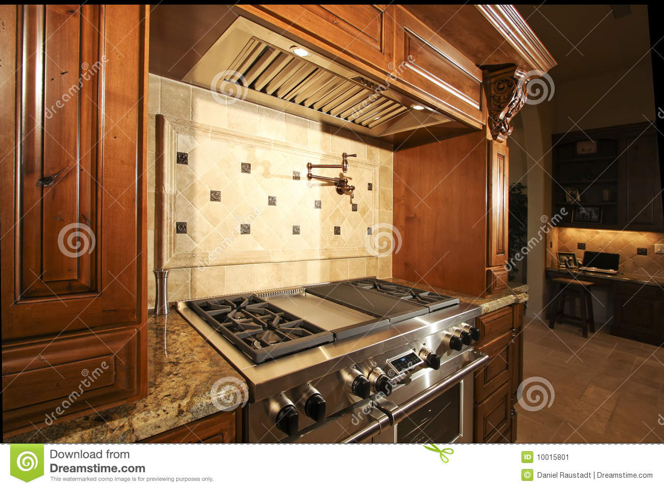 Luxury Modern Mansion Floor Plans Stainless Kitchen Oven Range And Hood Stock Image Image