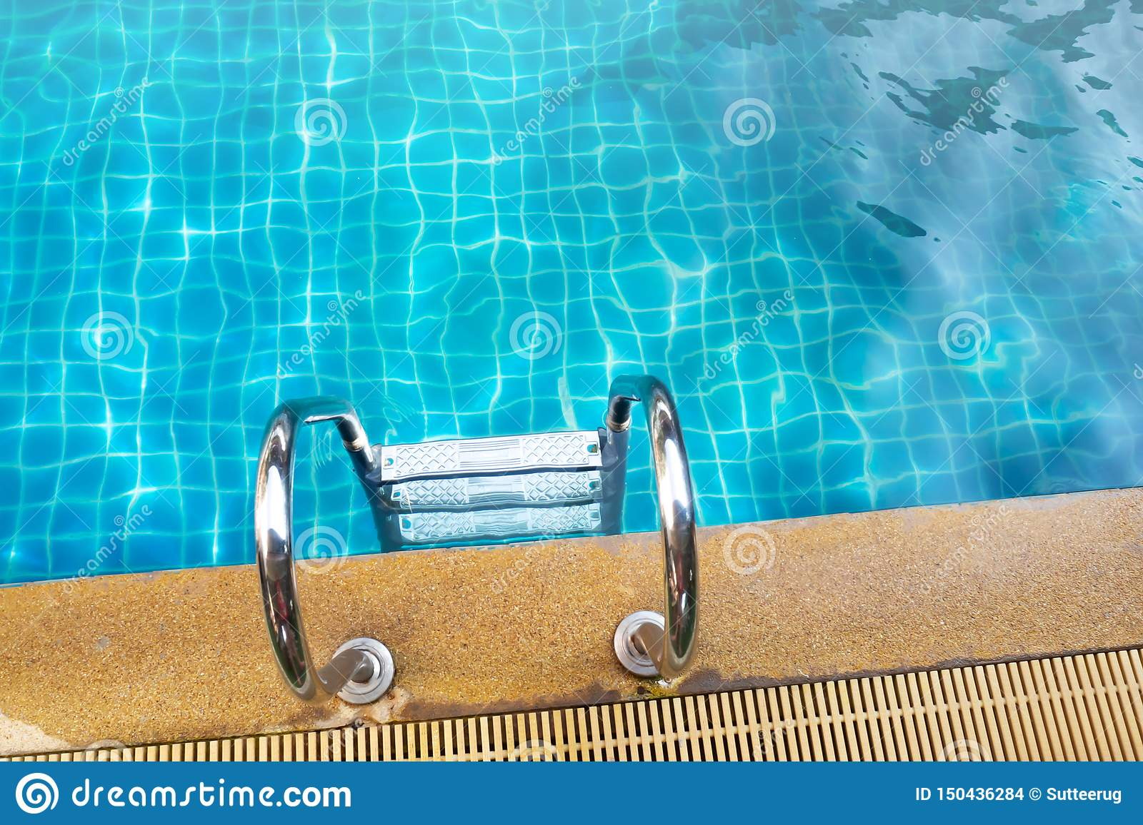 Stainless Rail In Swimming Pool. Water Activity Stock Photo ...