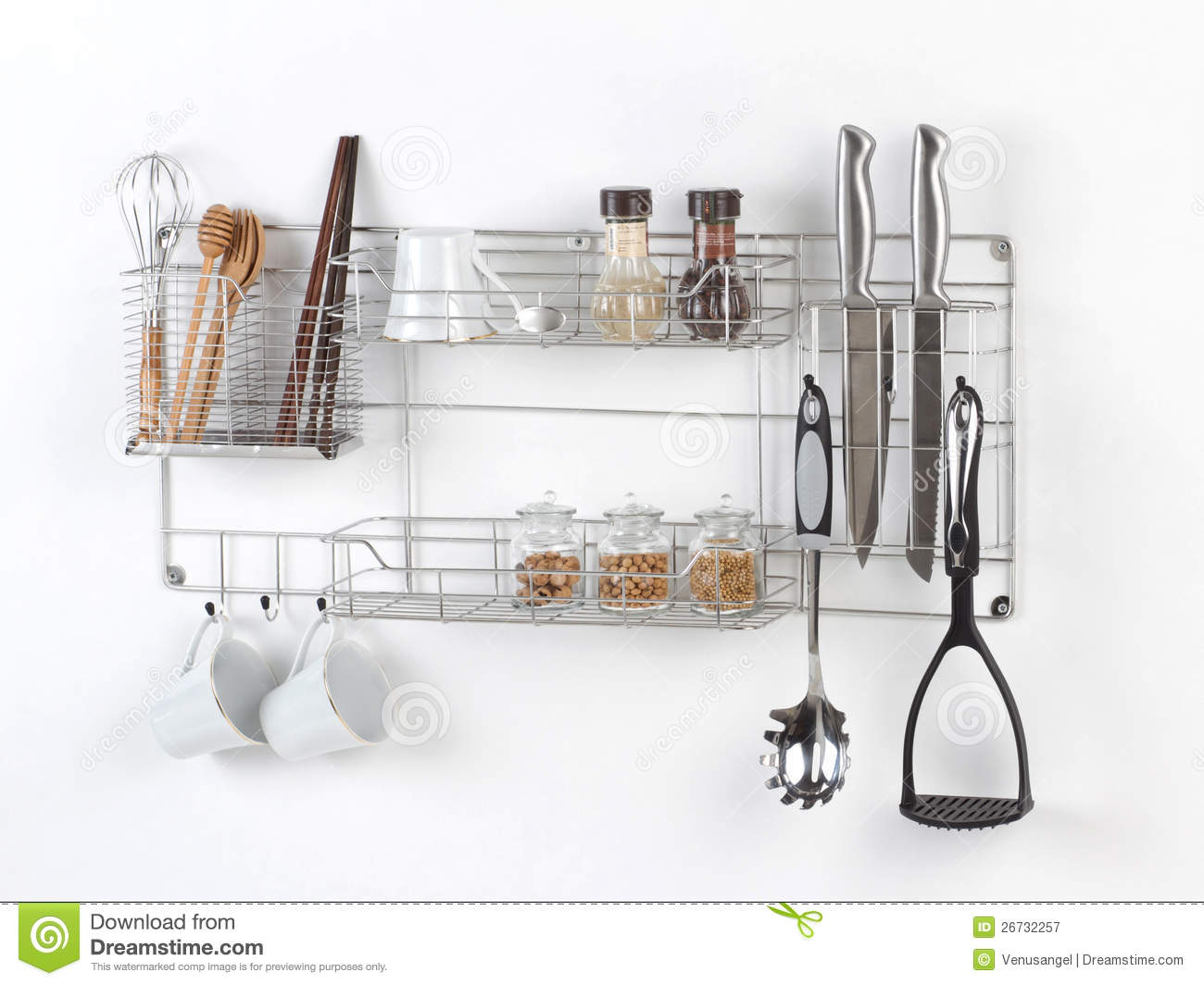 Shelf For Kitchen Stainless Shelf With Kitchen Utensil Royalty Free Stock