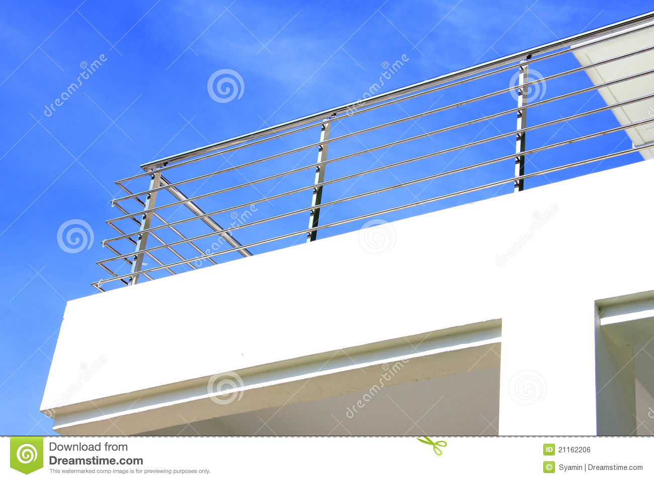 Stainless steel balcony guard rail stock photo image
