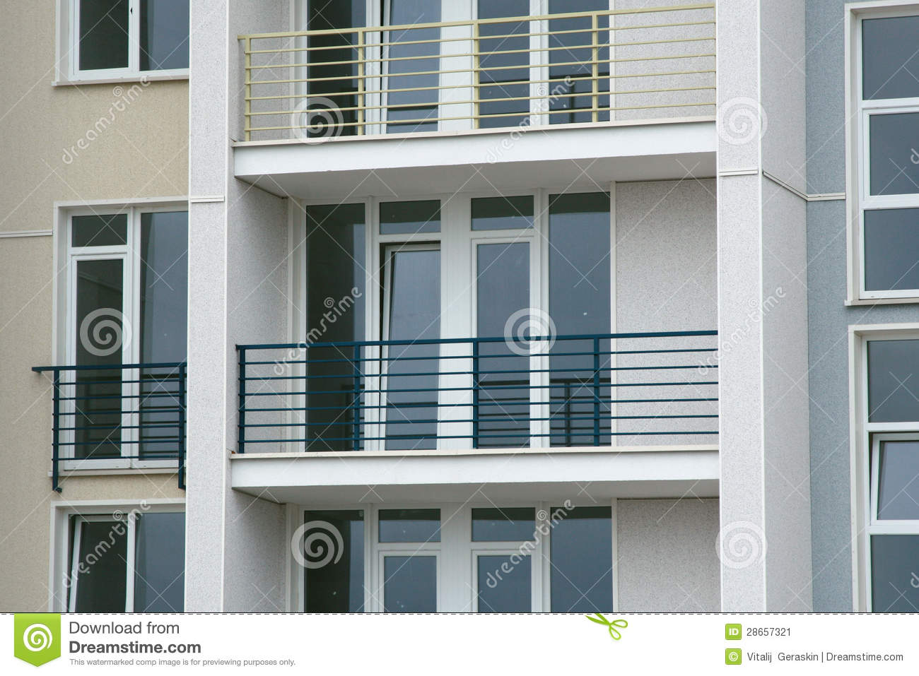 Stainless steel balcony on the modern building stock image for Stainless steel balcony