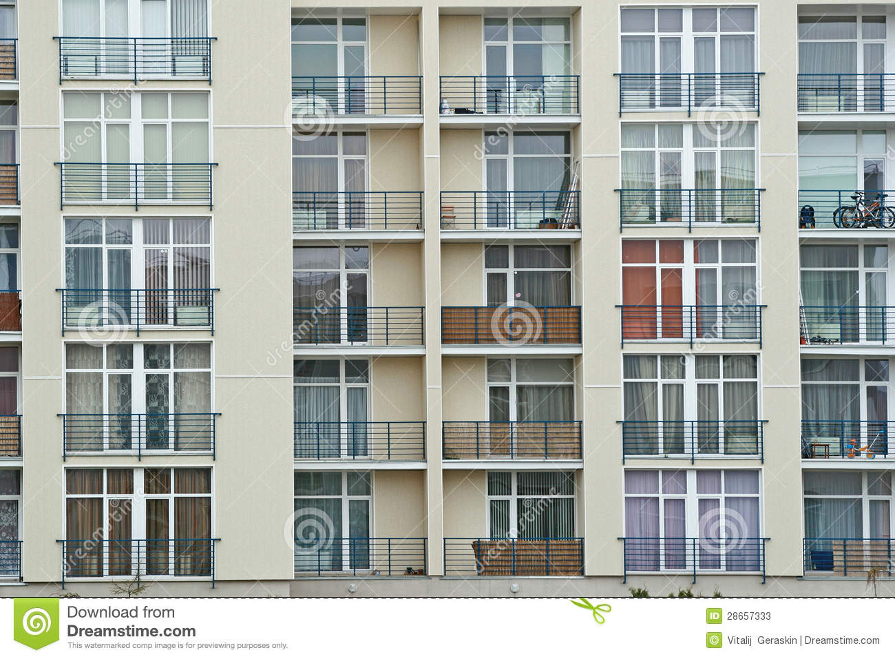 Stainless Steel Sheds : Stainless steel balcony on the modern building stock image