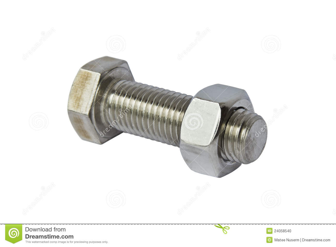 Stainless steel bolt and nut stock photo image of