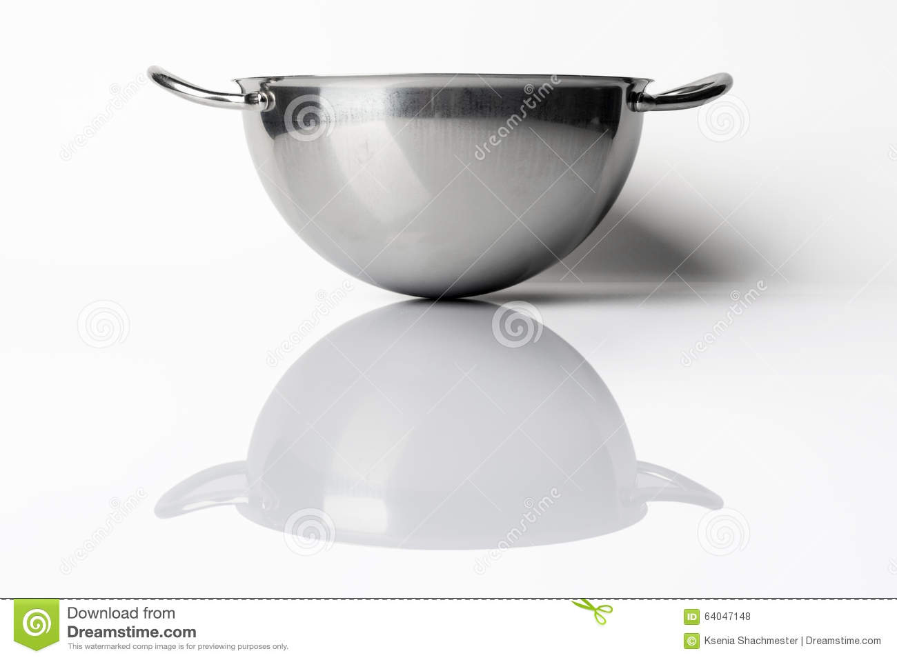 Stainless steel bowl from side on white with reflection