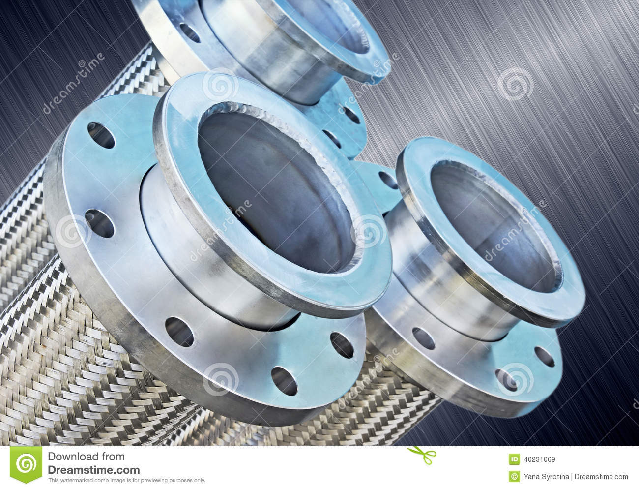Stainless Steel Braided Corrugated Metal Hose. Stock Image - Image ...