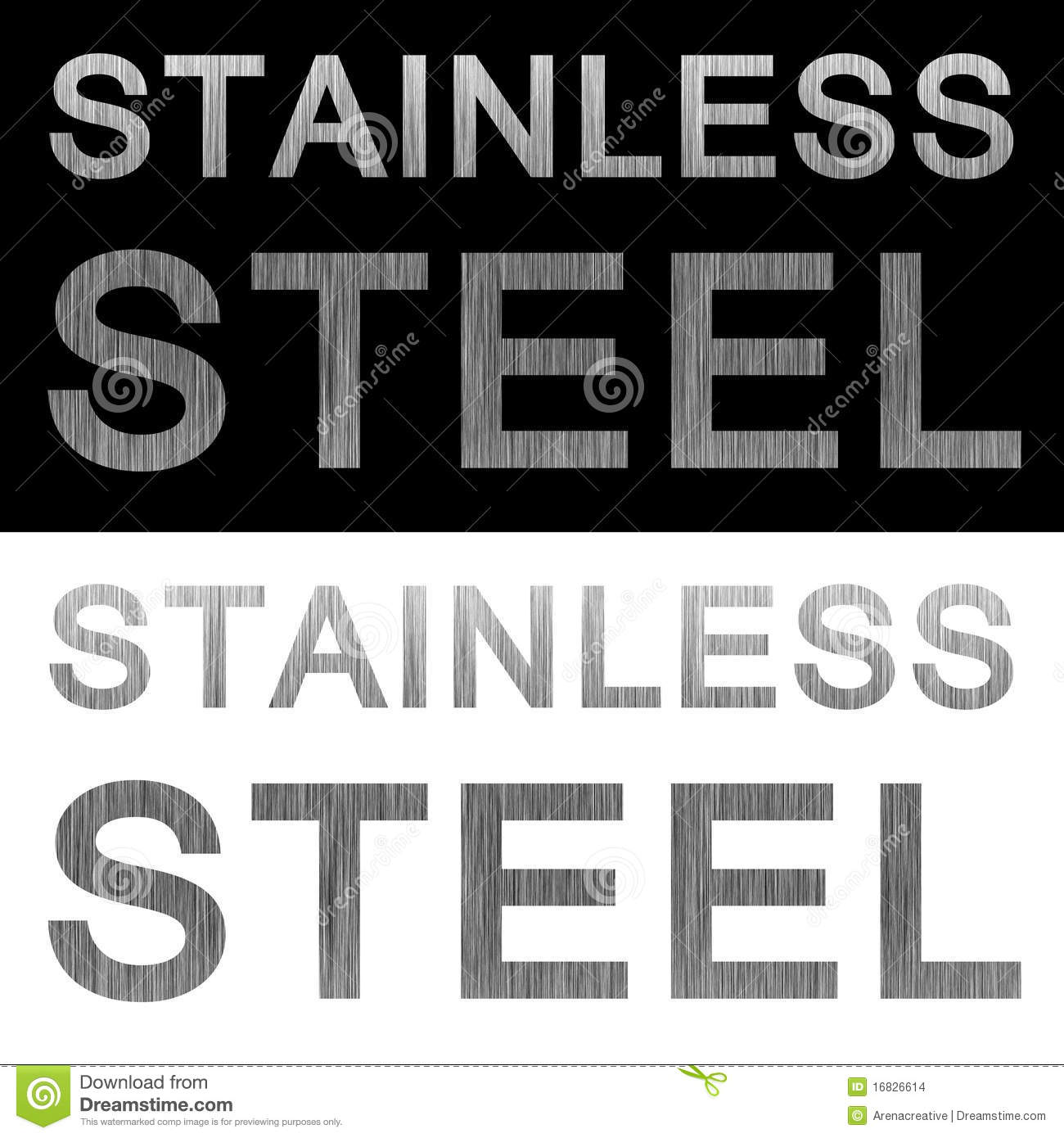 Metal texture labels isolated over black and white backgrounds