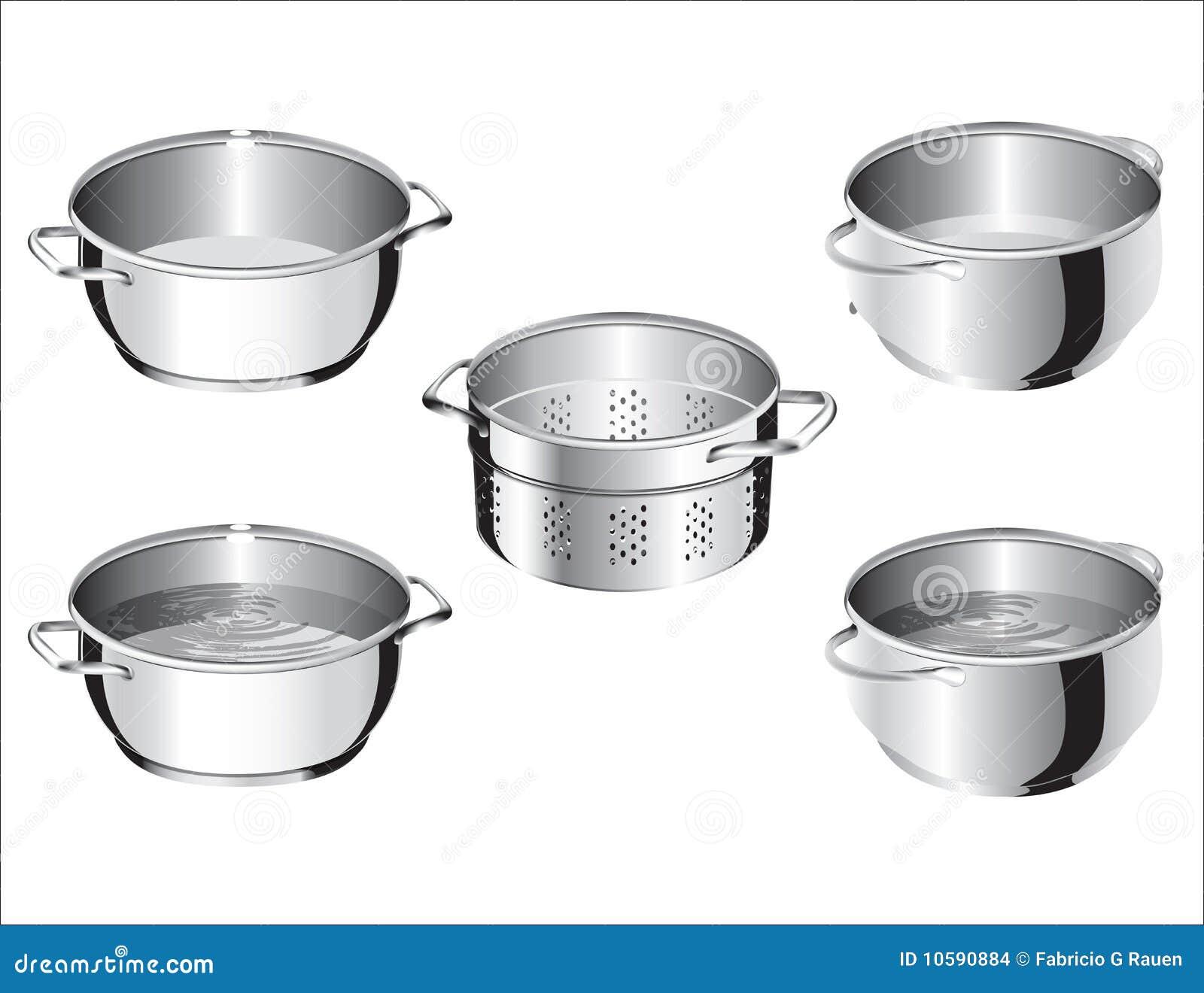 stainless steel cook pans stock images image 10590884. Black Bedroom Furniture Sets. Home Design Ideas