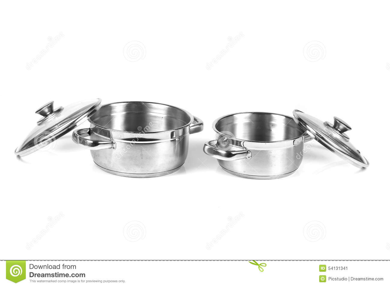 stainless steel cooking pans stock photo image 54131341. Black Bedroom Furniture Sets. Home Design Ideas