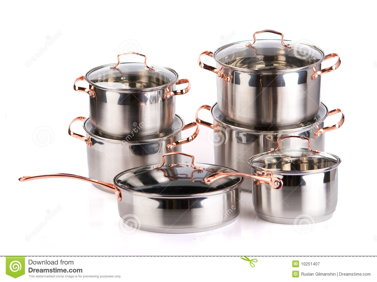stainless steel cooking pots royalty free stock photography image 10251407. Black Bedroom Furniture Sets. Home Design Ideas