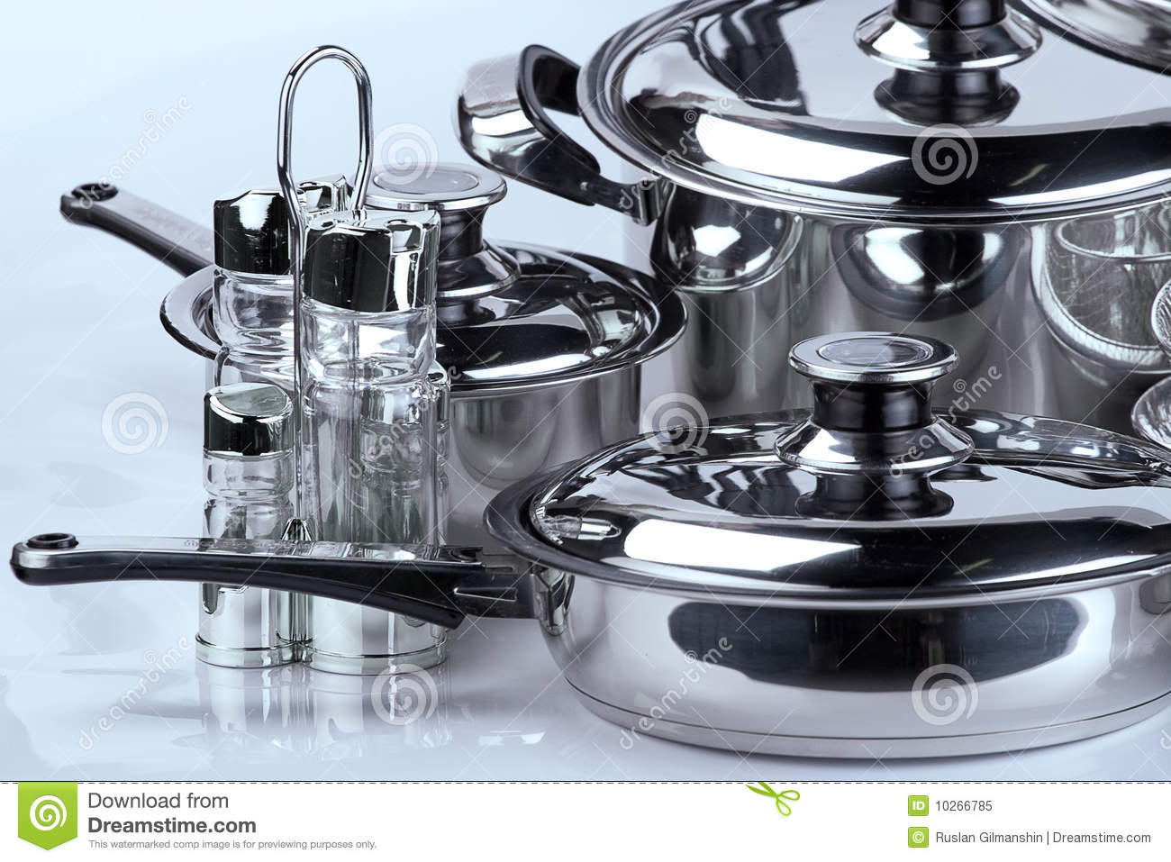 stainless steel cooking pots royalty free stock photo image 10266785. Black Bedroom Furniture Sets. Home Design Ideas