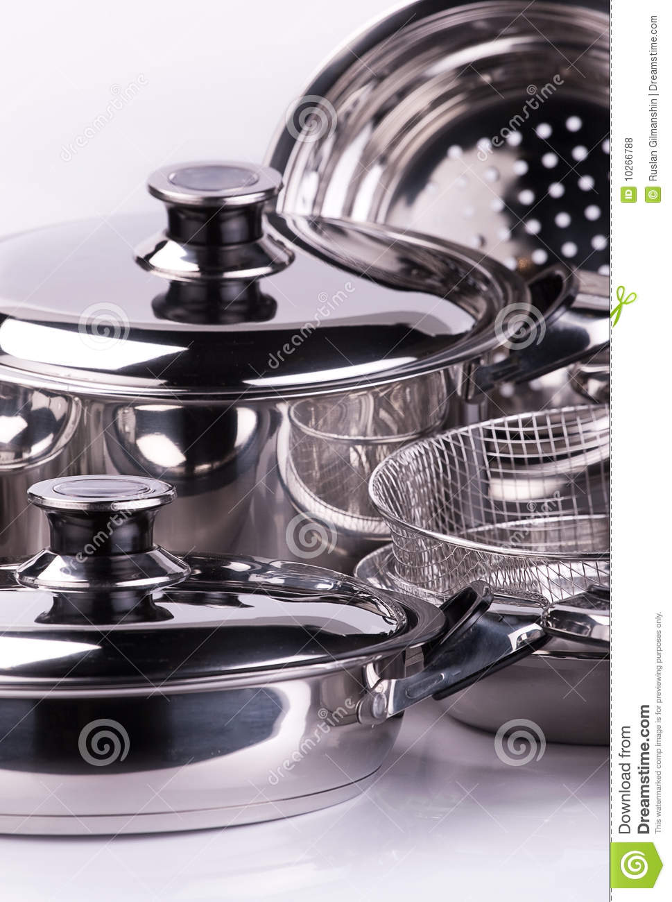 stainless steel cooking pots royalty free stock photos image 10266788. Black Bedroom Furniture Sets. Home Design Ideas