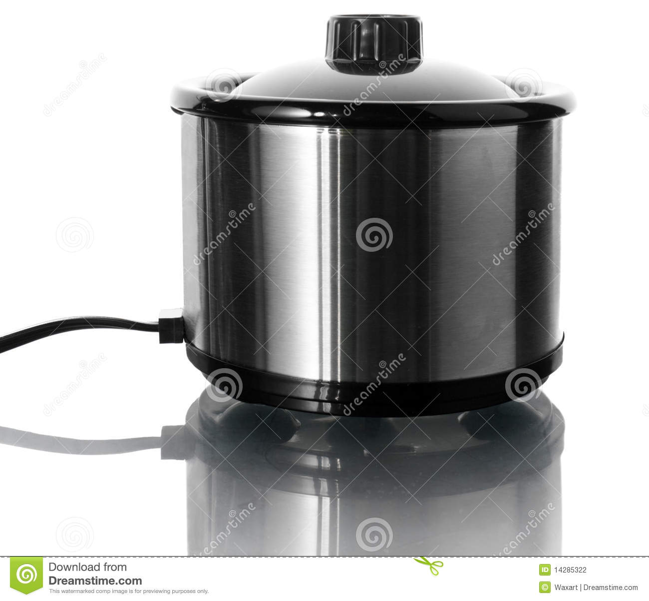 Electric Stock Pot ~ Stainless steel electric pot on white stock photography