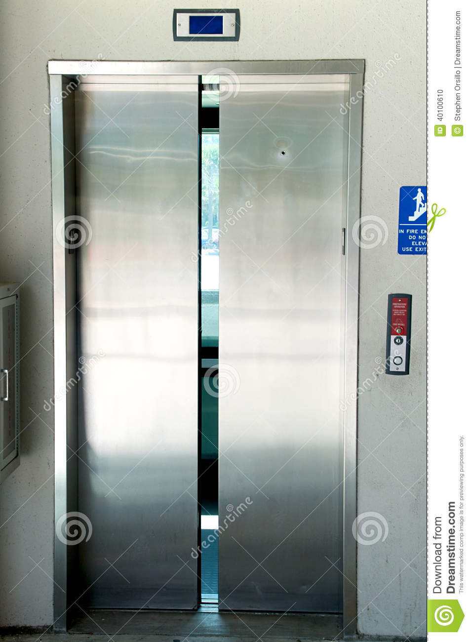 Stainless Steel Elevator Doors Closing Stock Photo Image
