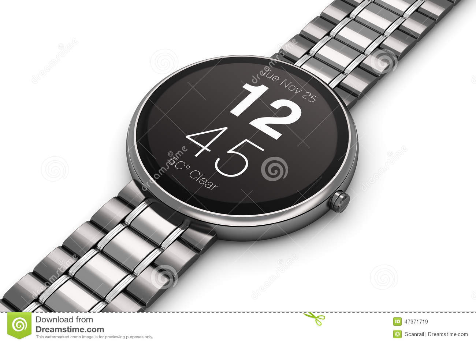 stainless steel luxury smartwatch stock illustration image 47371719. Black Bedroom Furniture Sets. Home Design Ideas