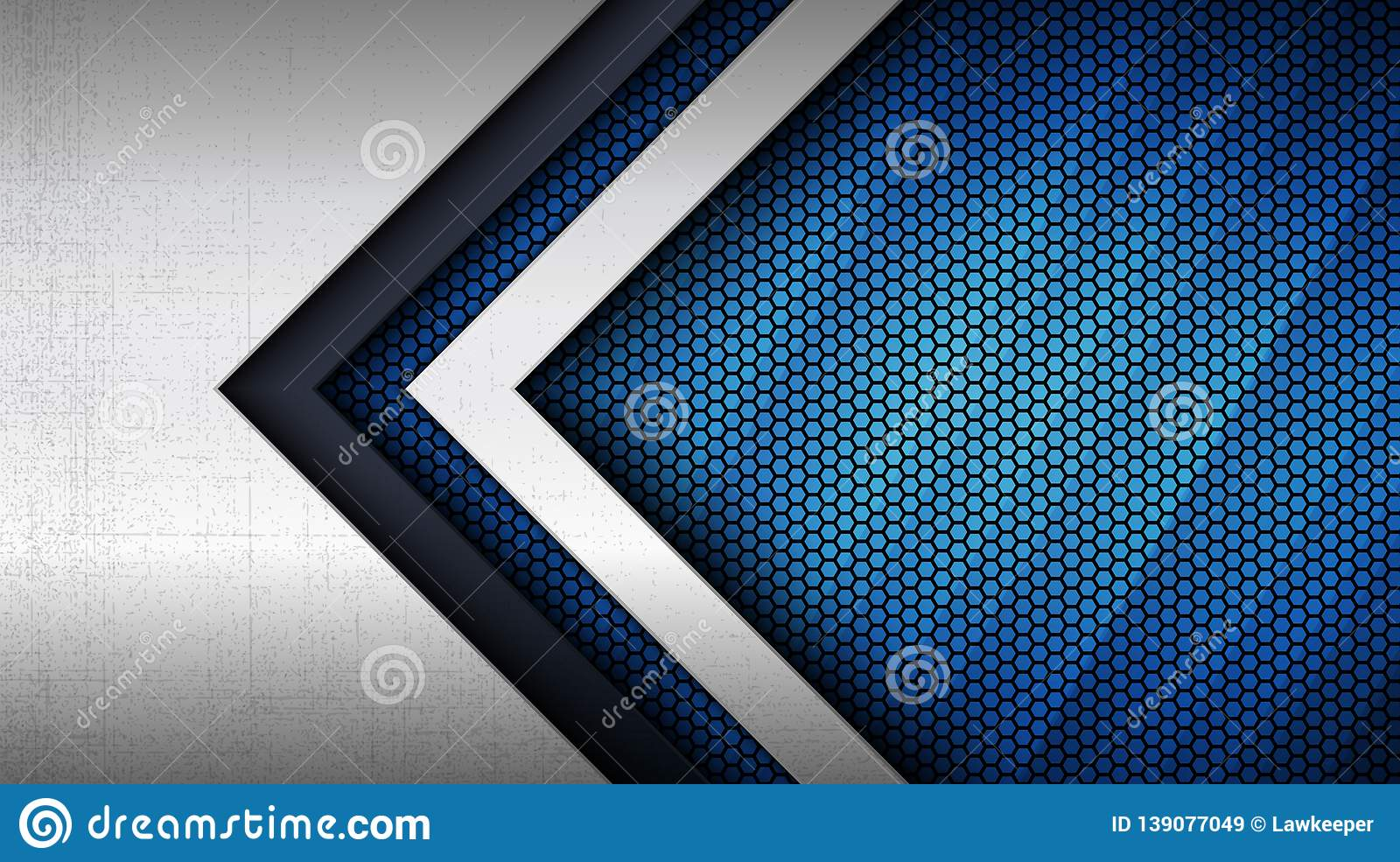 Stainless steel metal panel and hexagonal grid pattern over blue light background