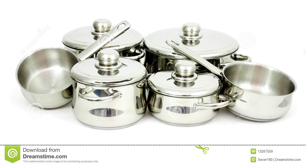 stainless steel pans stock image image of mirror ladles 13267559. Black Bedroom Furniture Sets. Home Design Ideas