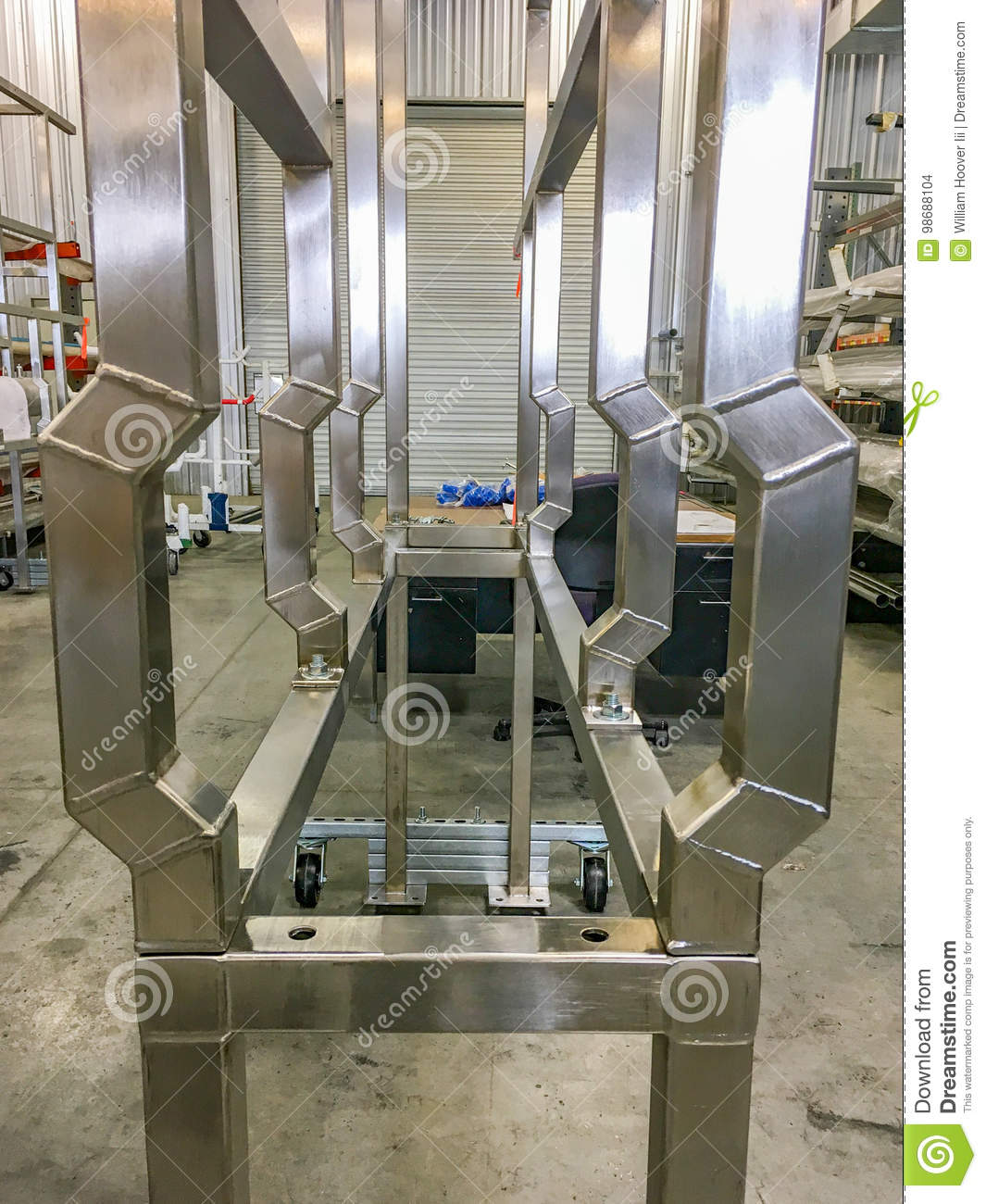 Heat Duct Supports : Stainless steel pipe support rack stock photo image of