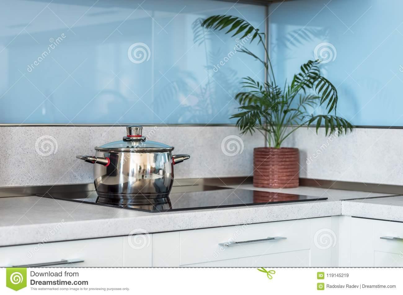Stainless Steel Pot On Induction Electric. Stock Image - Image of ...