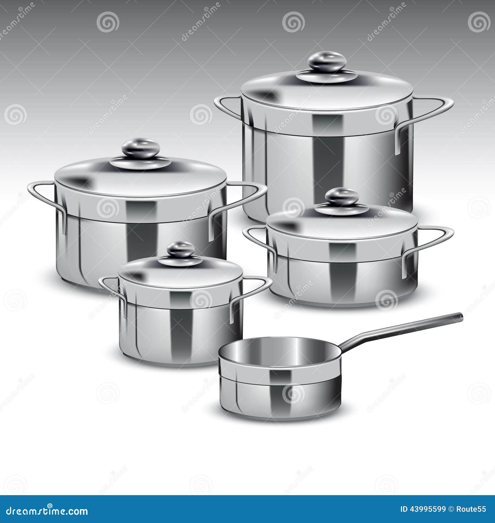 stainless steel pots stock vector image 43995599. Black Bedroom Furniture Sets. Home Design Ideas