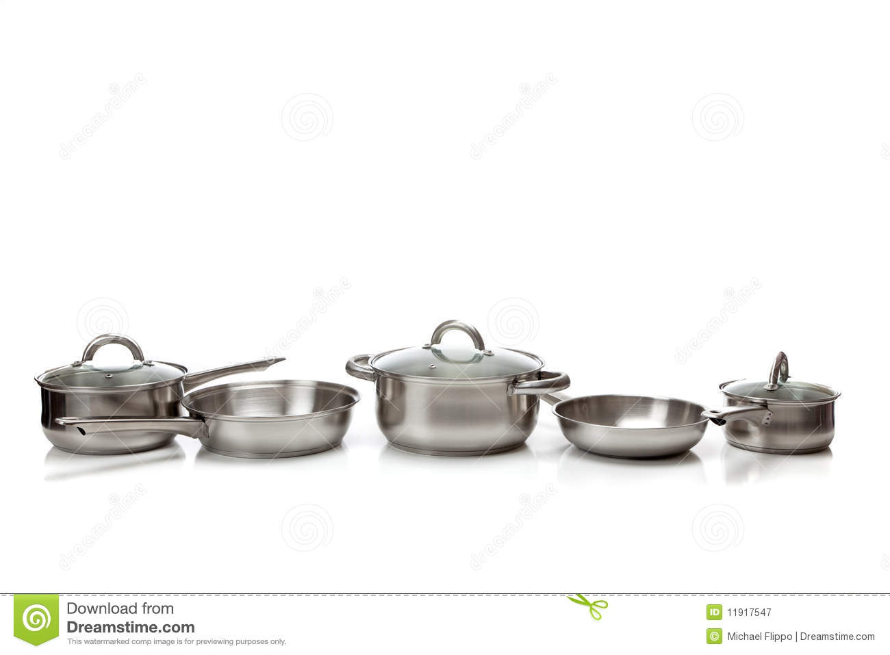 stainless steel pots and pans royalty free stock photography image 11917547. Black Bedroom Furniture Sets. Home Design Ideas