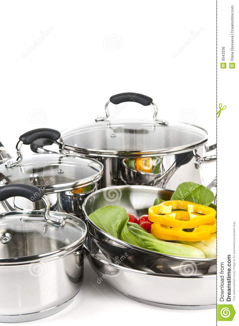 stainless steel pots and pans with vegetables royalty free stock image image 9043336. Black Bedroom Furniture Sets. Home Design Ideas
