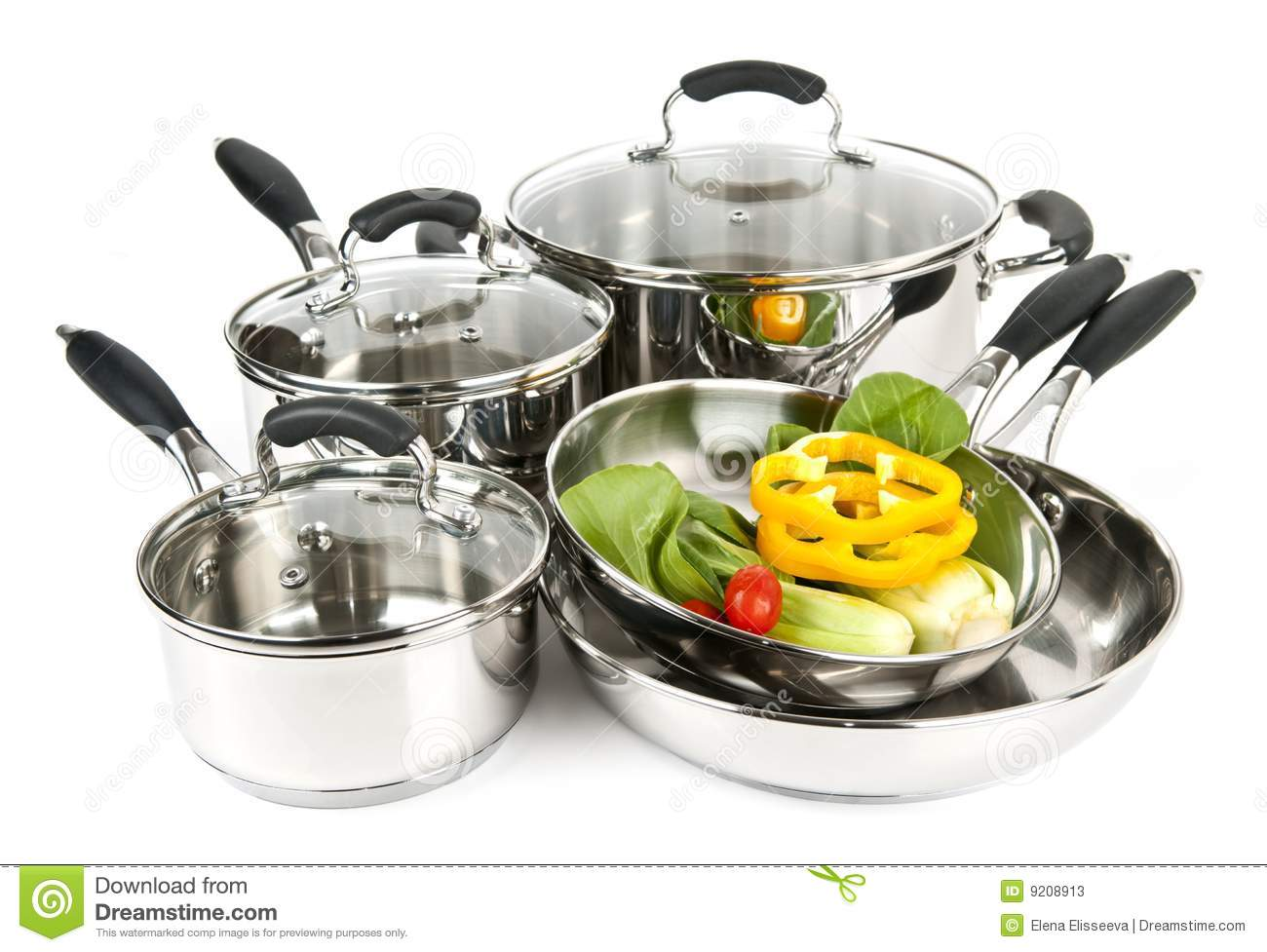 stainless steel pots and pans with vegetables stock image image of sauce durable 9208913. Black Bedroom Furniture Sets. Home Design Ideas