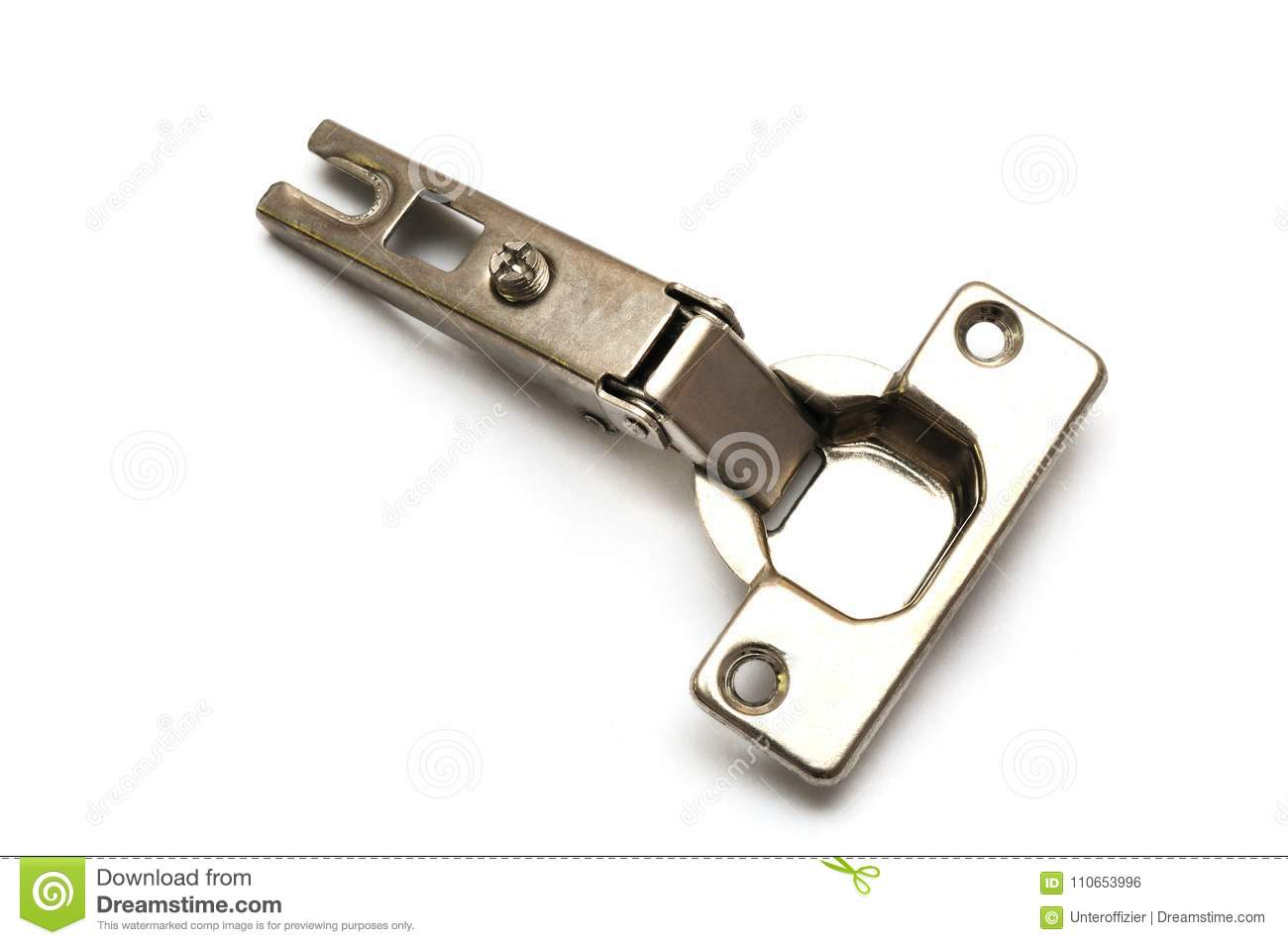 A stainless steel silver kitchen cabinet door hinge