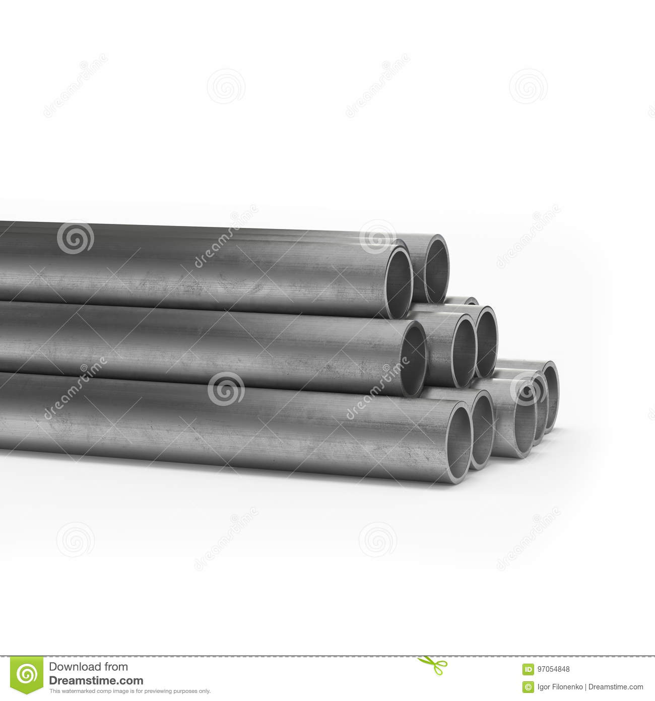 Stainless Steel Tube 3d Rendering Isolated  Stock Photo