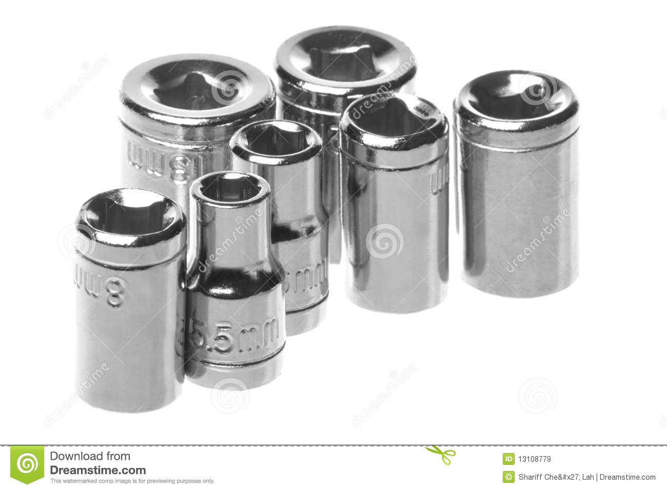 Stainless steel wrench sockets macro isolated royalty free