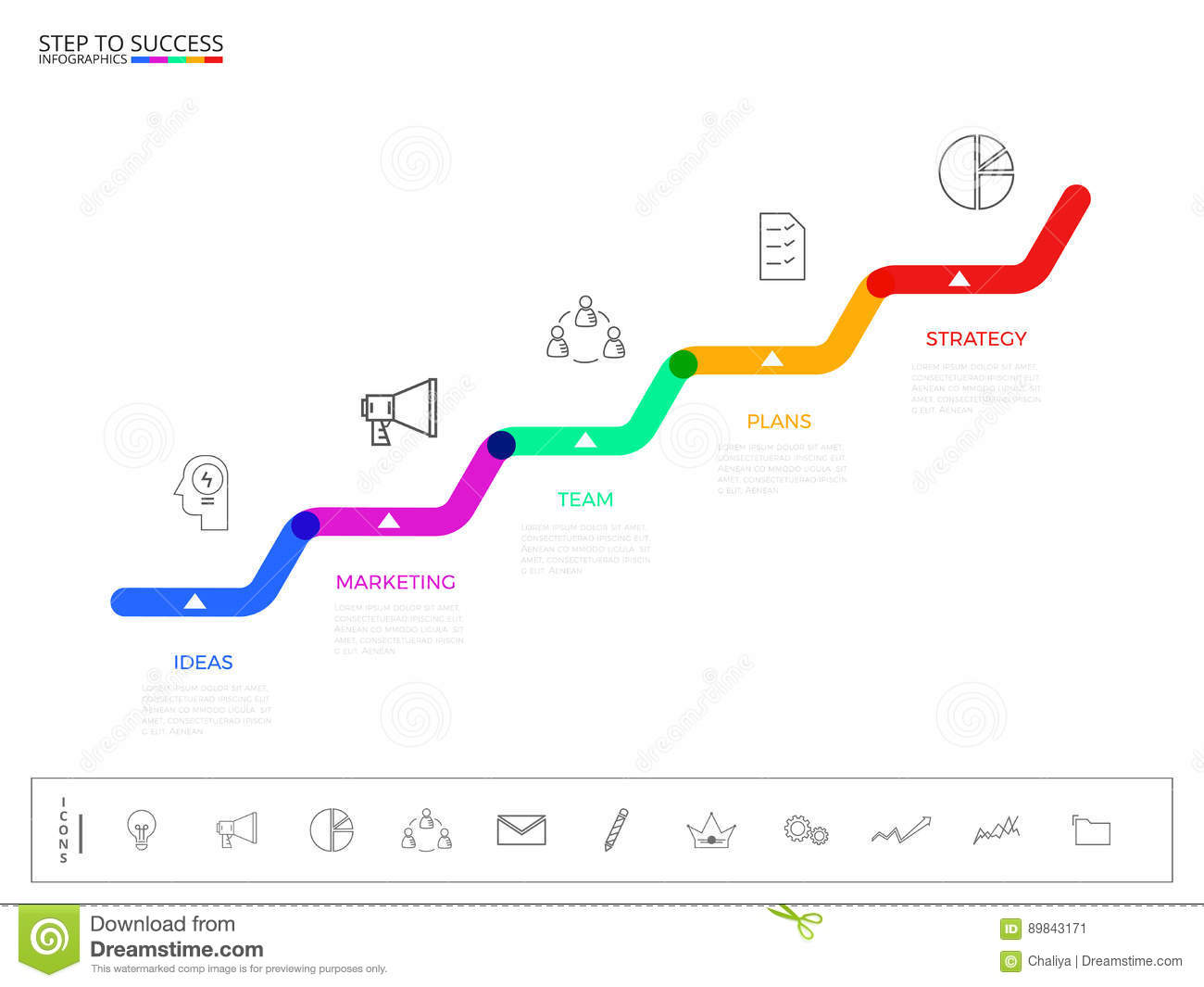 Stair Step To Success Concept. Business Timeline Modern Colorful ...