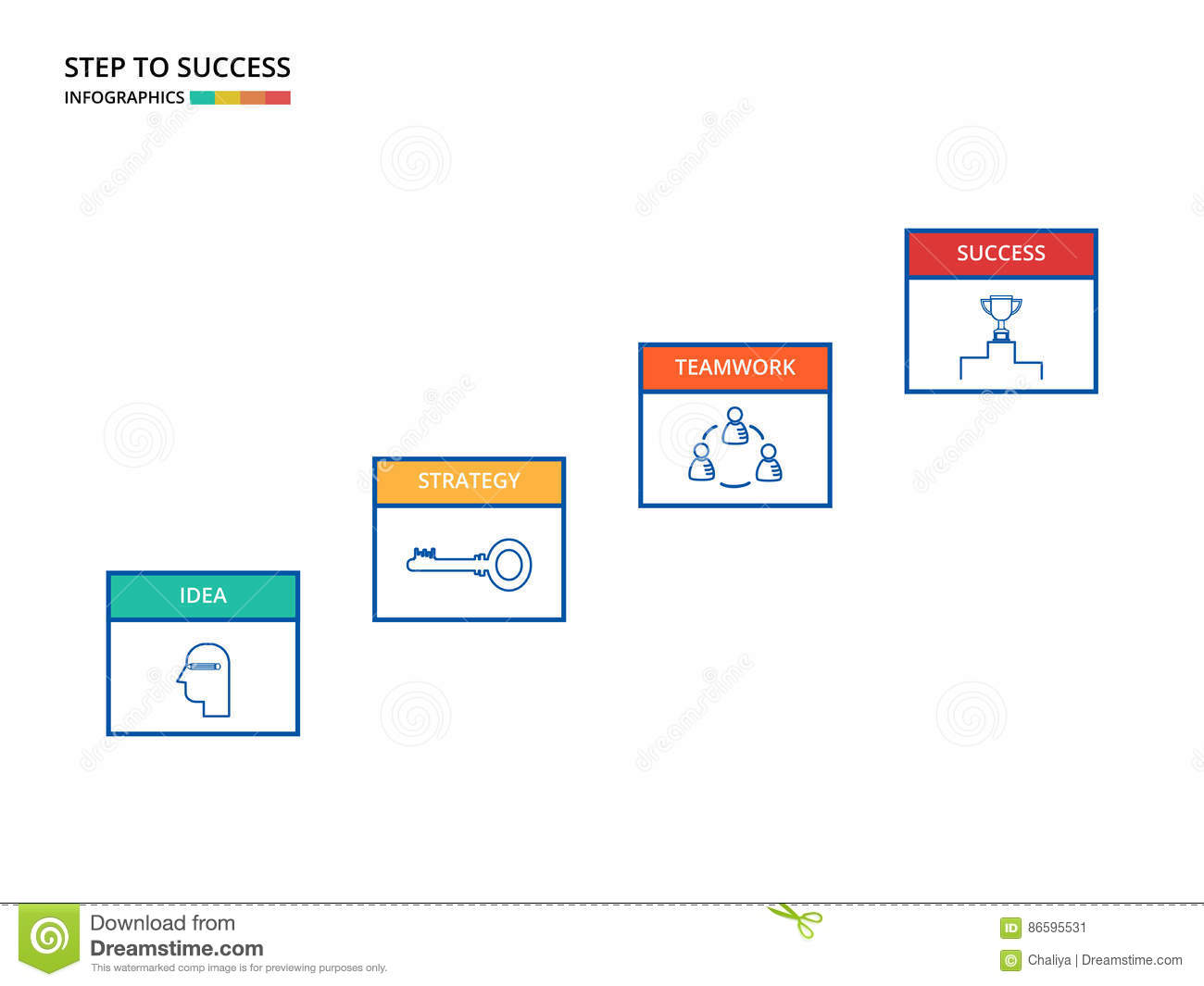 Stair Step To Success Staircase With Icons And Elements Diagram