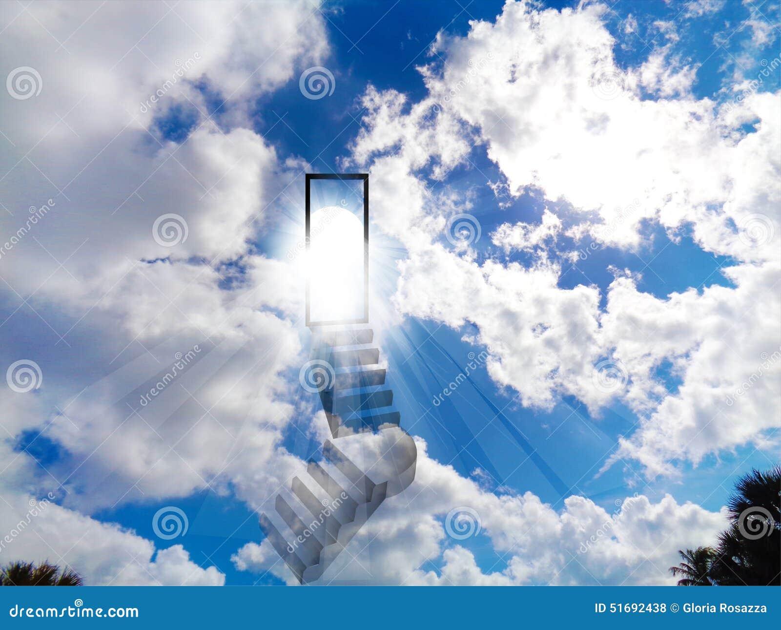 Stair To Heaven Blue Vivid Shiny Sky Stock Illustration