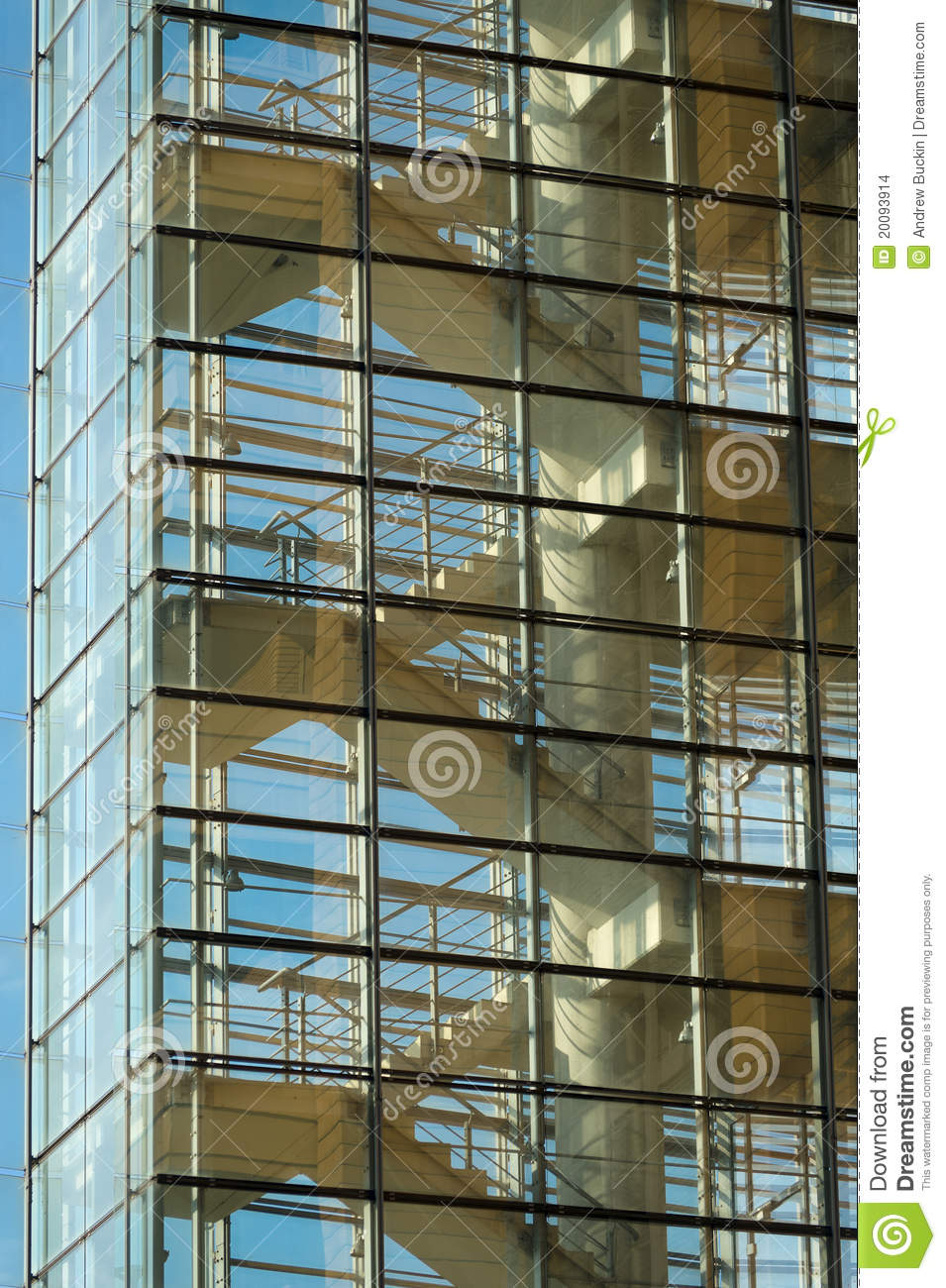 Staircase Stock Photo Image Of Blue Glass Steel Beam