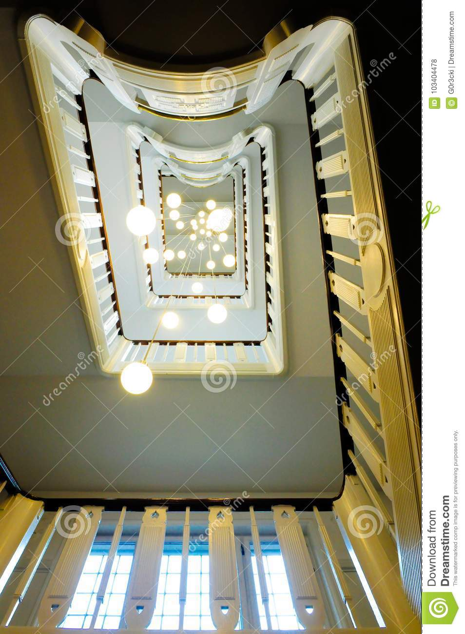 Staircase and Ceiling Lamps in Perspective