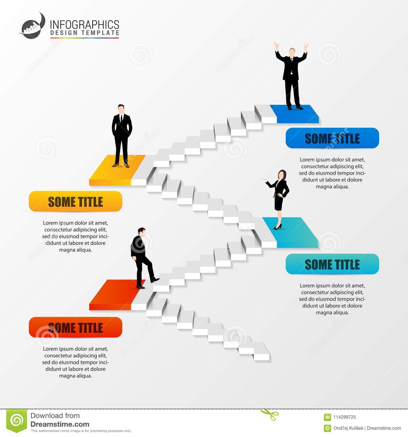 staircase 3d infographic design template business concept stock