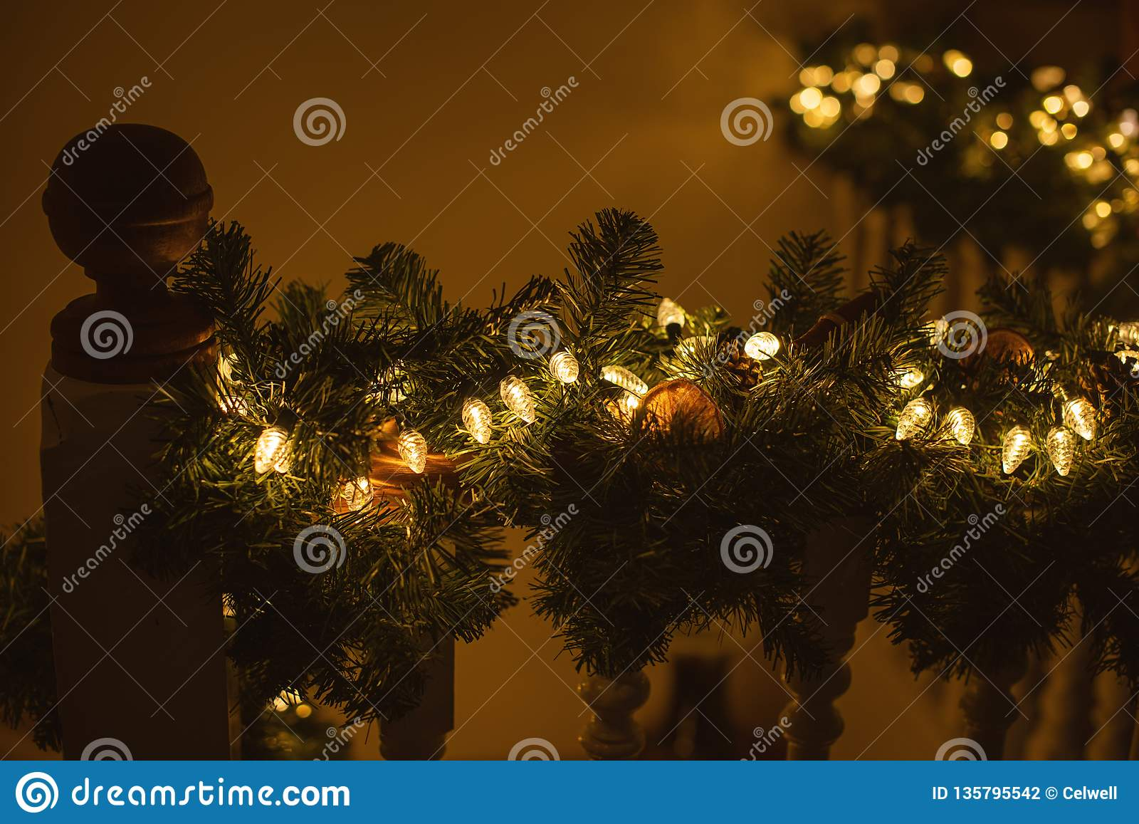 Picture of: Staircase Decorated For Christmas Warm Tone Stock Photo Image Of Home Decorated 135795542