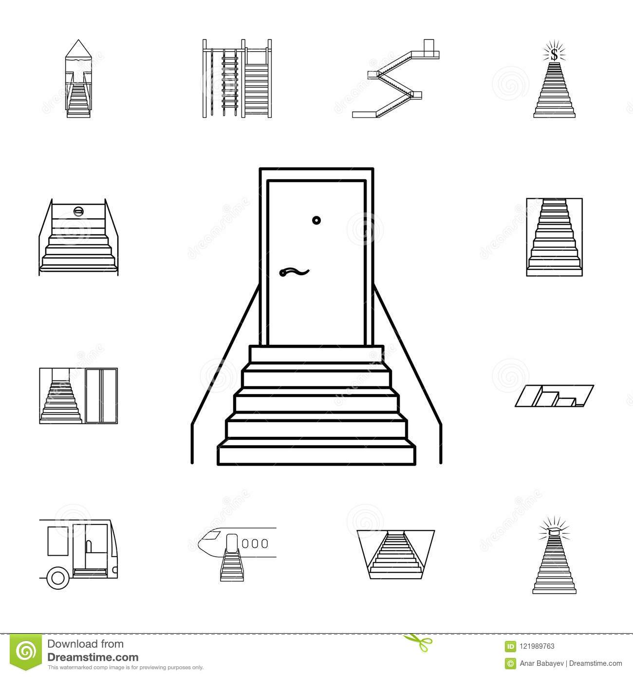 Staircase With A Door Icon Detailed Set Of Stair Icons Premium