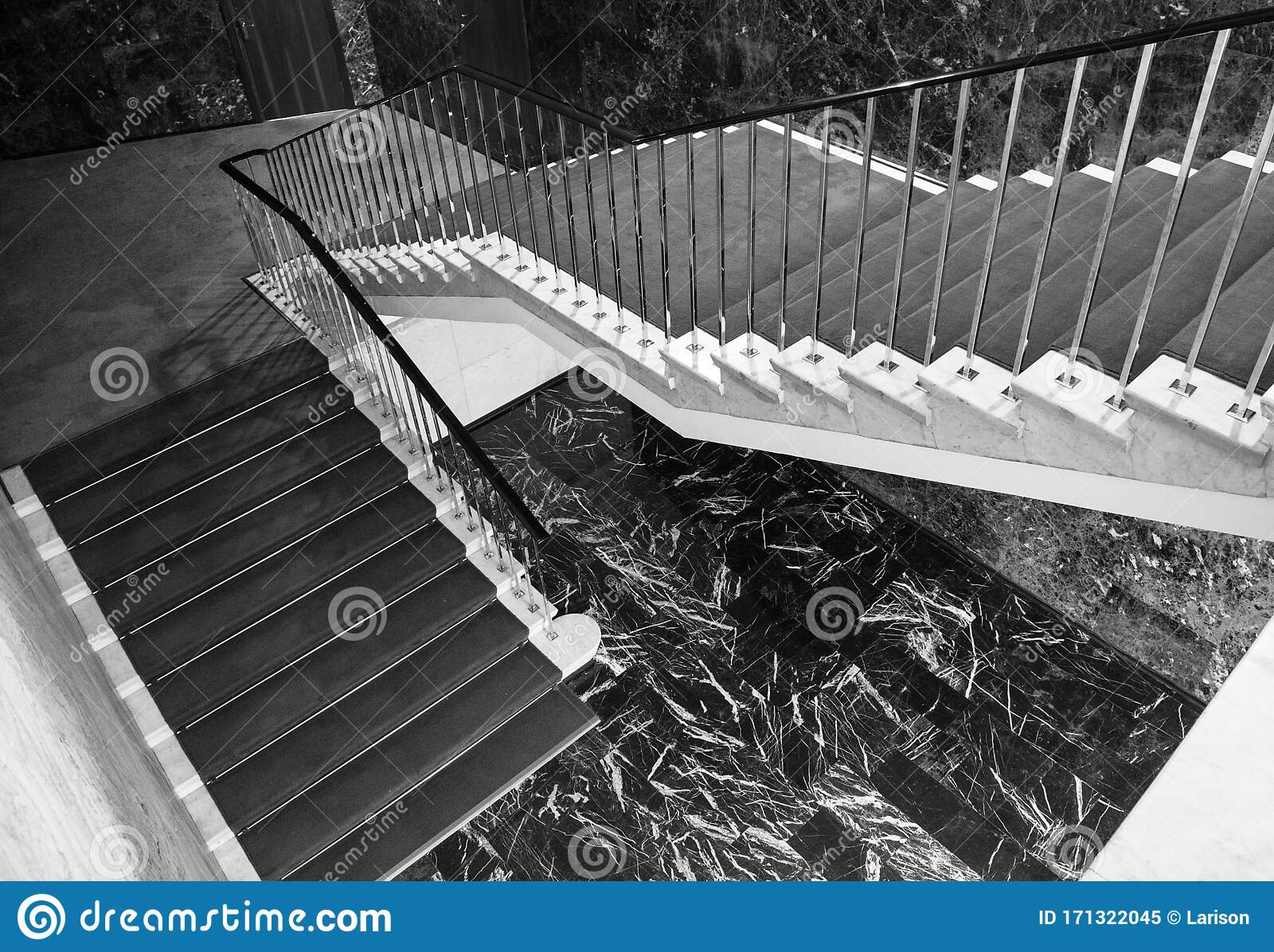 Staircase And Floor In Black Marble Detail Of The Interior Stock Image Image Of Flight Interior 171322045