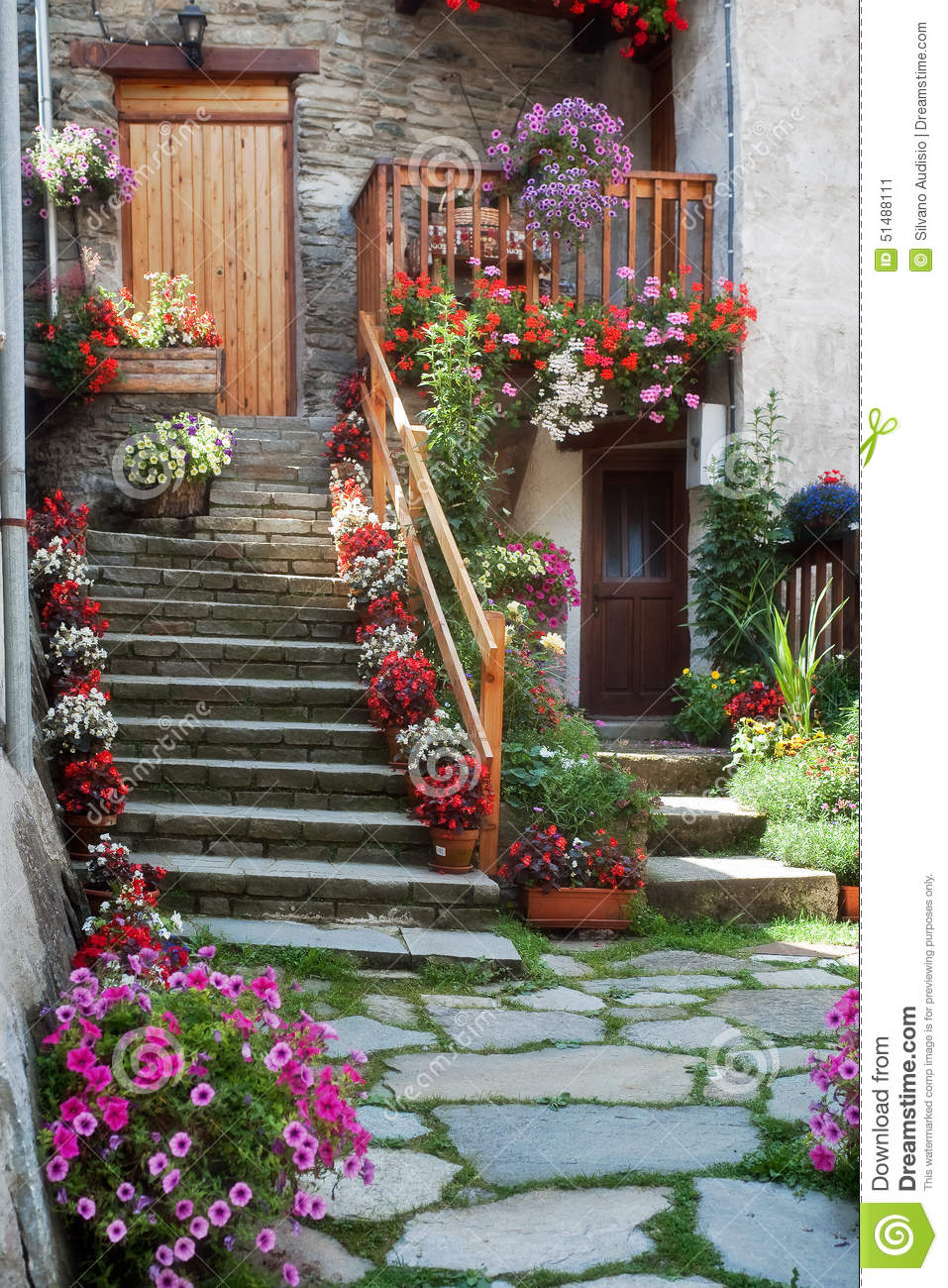 Staircase With Flowers Stock Photo Image 51488111