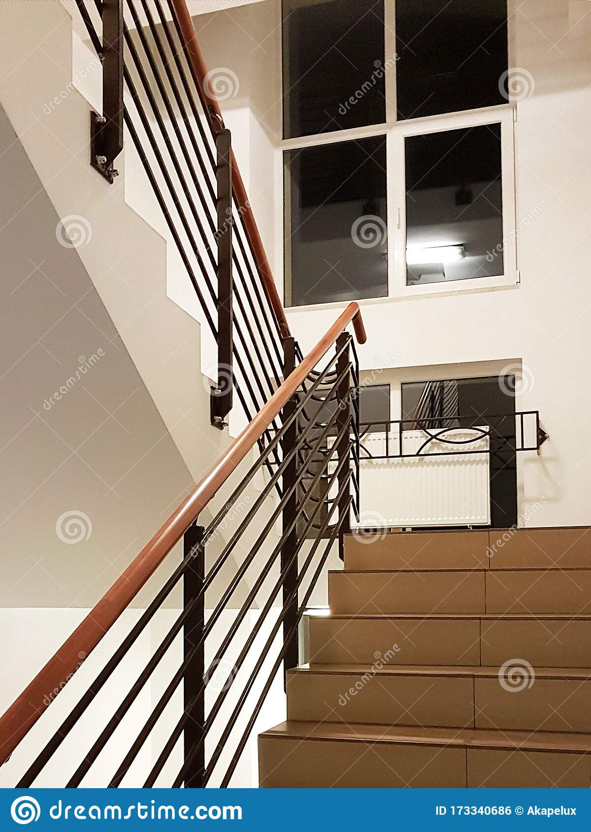 Lviv Ukraine 2 2 2020 A Staircase With Forged Cast Iron Railings In A Modern Building Illuminated With Light From Editorial Photo Image Of Dirty Entrance 173340686