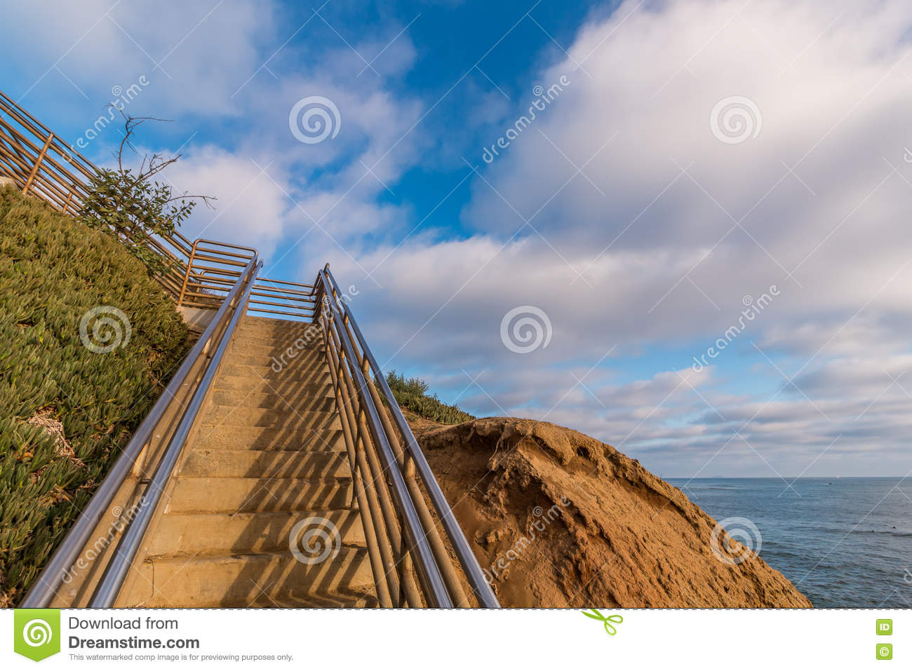 Staircase at Ladera Street at Sunset Cliffs in San Diego