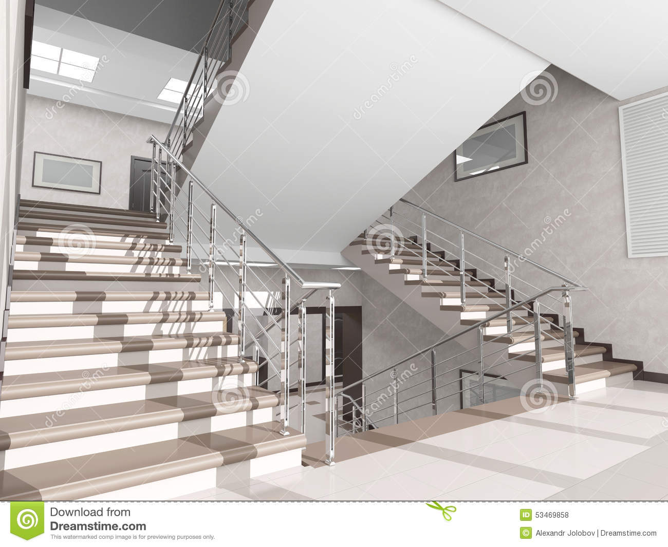 Staircase with metal railing in the interior stock photo for Modern office building interior