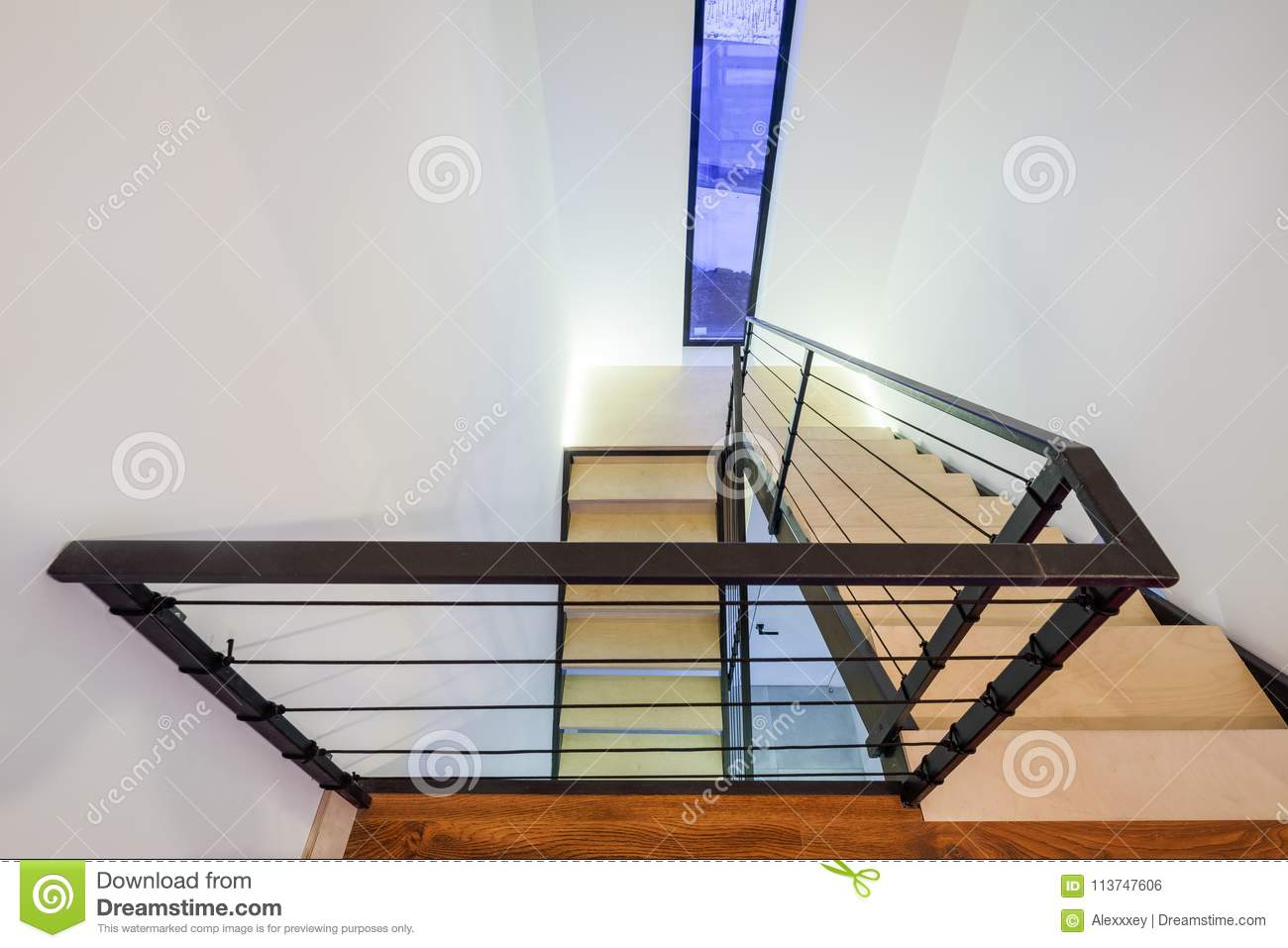 Download Staircase In A Private House With Wooden Steps And Metal Railing  Stock Photo   Image